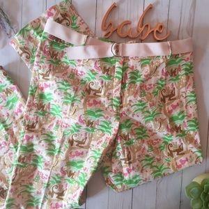 Fun TIBI pink jungle monkey print cropped pants